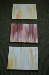 Wash canvases with water and paints